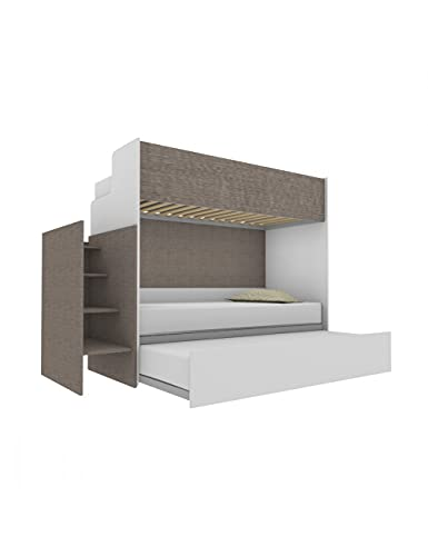 Woody - Litera funcional de diseño, con tercera cama extraíble y elevable, 80 x 190 cm, escalera de contención, color blanco y gris humo