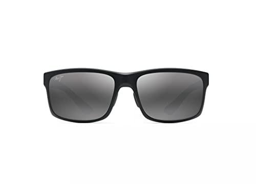 Maui Jim Pokowai Arch w/Patented PolarizedPlus2 Lenses Rectangular Sunglasses, Black Matte/Neutral Grey Polarized, Medium
