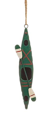 Creative Co-Op White Water Kayak with Paddle Hand Painted Metal Ornament