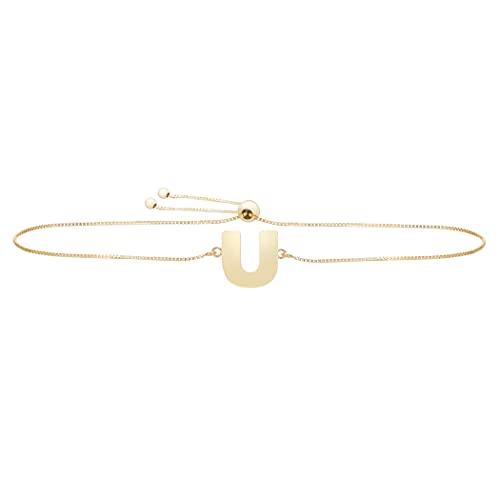 Pulsera de oro amarillo de 14 quilates con nombre de letra pulido, personalizada, monograma inicial, con cierre de cuerda, regalo para mujer – 23 centímetros