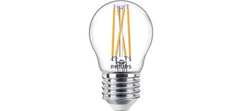 Philips LED Classic Bombilla, 25 W, P45 E27, Transparente, Luz Blanca Cálida, Regulable, Reproducción Cromática 90