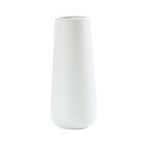 11 Inch Snow White Ceramic Flower Vase for Home Décor, Design Box Packaged,...