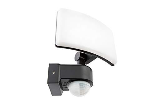 HUBER LED Strahler mit Bewegungsmelder 360° 20W, 1800lm - sehr sensibel durch 3 Sensoren und Matrixlinsen, inkl Unterkriechschutz und Bereichsbegrenzung, Wand und Eckmontage, IP65, anthrazit