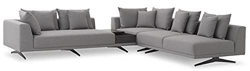 Casa Padrino sofá esquinero de Lujo Gris/Negro 340 x 292 x A. 64 cm - Noble sofá de salón con Cojines - Muebles de Lujo - Calidad de Lujo