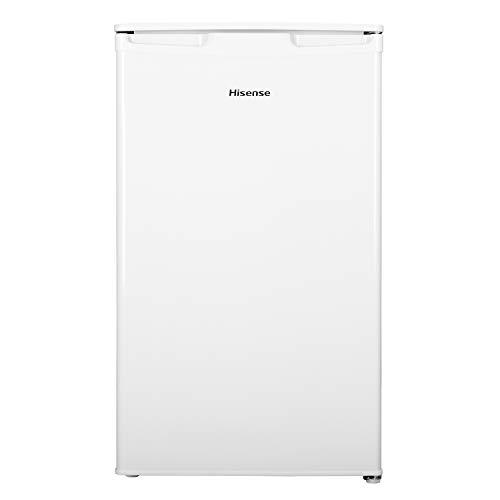Hisense RR125D4AW1 - Frigorífico Pequeño Table Top, una puerta reversible, clase A+, capacidad neta 96 l, 84.7cm de alto bajo encimera, silencioso 43dB, color blanco