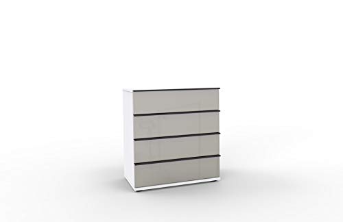 WIEMANN Montreal Kommode, mit Schubladen, für Schlafzimmer, Sideboard, Breite 75 cm, weiß, Glas Kieselgrau, grau, Griffe schwarz, B/H/T 75 x 82 x 42 cm