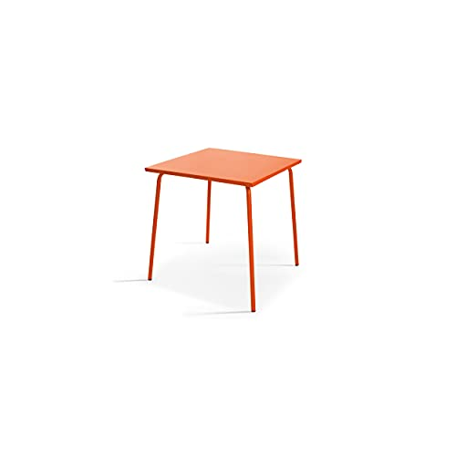 Oviala Table de Jardin Orange Carré 70 x 70 x 72 cm Acier 4 Places Palavas