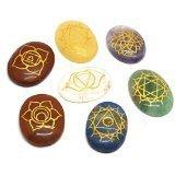 Cristales de sanación India 7piezas grabado Chakras piedras Palm piedra cristal Reiki curación con una bolsa