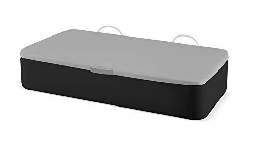 Naturconfort Canapé Abatible Tapizado Apertura Lateral Gran Capacidad Tapa 3D Gris Low Cost Negro 105x210cm Envio y Montaje Gratis