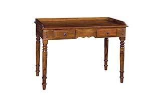 Licht-Erlebnisse Schreibtisch Earnest 120x80x60 cm Mangoholz 2 Schubladen Vintage Jugendstil Konsolentisch Schreibpult
