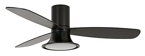 Lucci Ventilador de techo Flusso con luz LED, 3 aspas y 6 velocidades, color negro