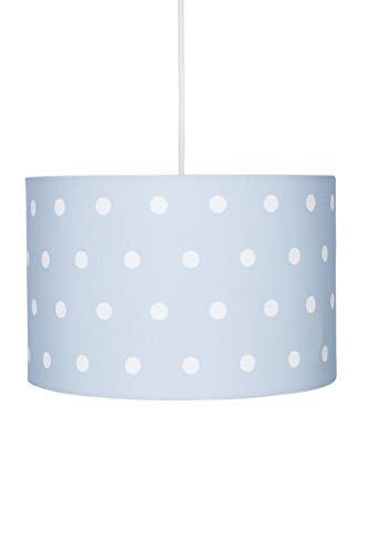 Deckenlampe für Kinderzimmer Hängeleuchte Lampenschirm mit Punkten in blau Weiss, 30x20 cm, E27, 60 Watt, 230Volt