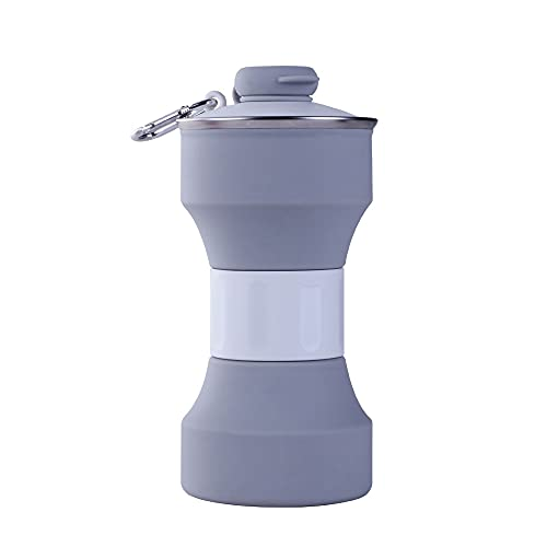 XIANGFENG Portable Silicone Folding Sports Bottle, 650ml Creative Outdoor Telescopic Water Cup for Gym, Camping, Hiking, Fishing