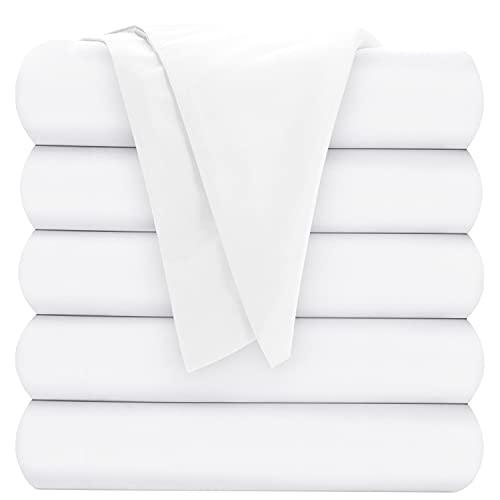 Oakias Bettlaken für Doppelbett, weiß, 6 Stück, Oberlaken für Bett – weich gebürstetes Mikrofasergewebe – schrumpft und verblasst nicht – ideal für Hotels und Krankenhäuser – maschinenwaschbar