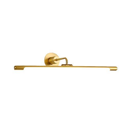 Spiegelleuchten Spiegelfrontleuchte Acryl-Lampenschirm Metallsockel 43cm, 56cm, 75cm Lampenkopf 240 ° Rotation LED-Lichtquelle dauerhaft (Color : Gold, Size : 56cm)