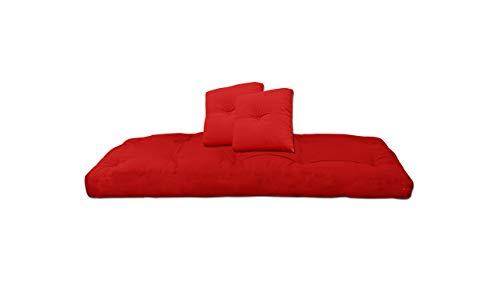 Futon On Line Futón de Algodón con Dos Cojines, Color Rojo, 80x200x13 cm