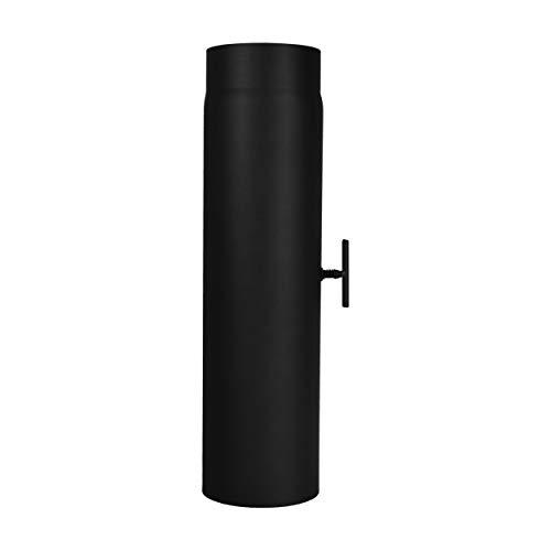 LANZZAS Ofenrohr 500 mm mit Drosselklappe, im Durchmesser, DN Ø 150 mm, Farbe: schwarz-metallic - weitere Rohre aus unserem Sortiment, finden Sie hier.