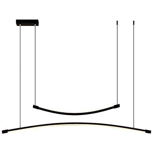 Regulable Modernas LED Iluminación colgante Comedor 30W con Mando a distancia Tira larga Mesa De Comedor Sala de estar Aluminio Luces Colgante Altura Ajustable Gel de sílice Pantalla, Ø90CM/2400 Lumen