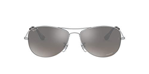 Ray-Ban 0Rb3562 Gafas de sol, Shiny Silver, 59 para Hombre