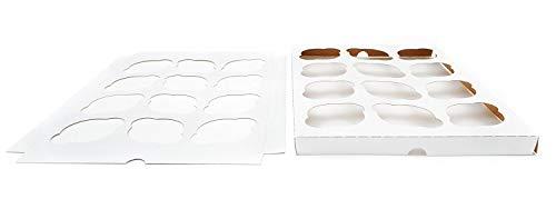 Paquete de 10 | Color Blanco o Kraft 12 Cupcake Inserto para 14 x 10 Panadería o caja de pastel