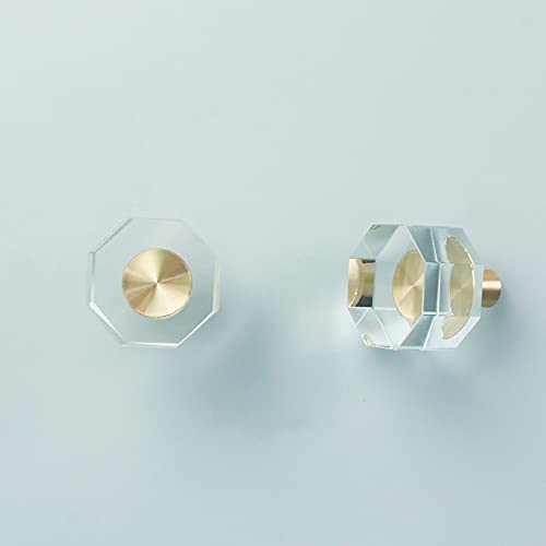 4 Stück Kristallglas-Griffe für Schrank, Schubladen, Schrank, Kommode, Bücherregal, Kleiderschrank (Oktaeder)