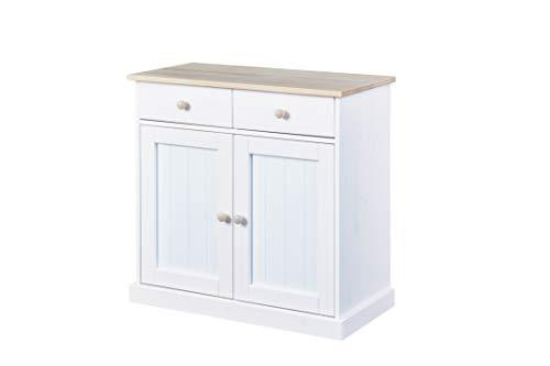 Inter Link Kommode im Landhausstil mit 2 Schubladen 2 Türen Kiefer Massivholz weiß / Milkyskin lackiert