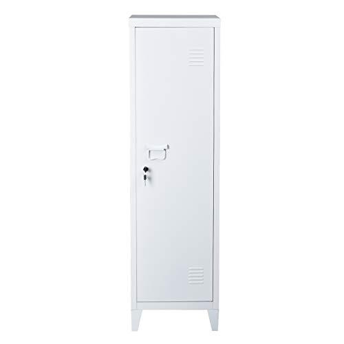 FURNITURE-R France Schlüsselschrank – Metall Aktenschrank mit Spind, Aufbewahrungsschrank Boden, Organizer, für Wohnzimmer, Badzimmer, Büro, Weiß