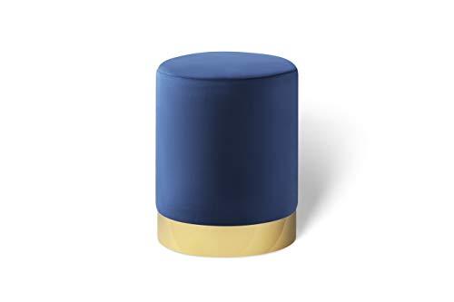 LIFA LIVING Runder Samt Pouf in dunkelblau Ø 30 cm, Zylinderförmiger Samthocker mit goldenem Detail, Fußhocker aus Samt in Navy, Sitzhocker Marineblau