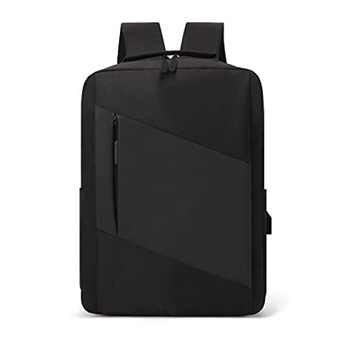 Zaino da uomo per computer portatile, borsa casual, impermeabile, anti furto, sottile, durevole, per lavoro, viaggi, affari, college con porta di ricarica USB, 40,6 cm, Cuciture nere., 40,64 cm,