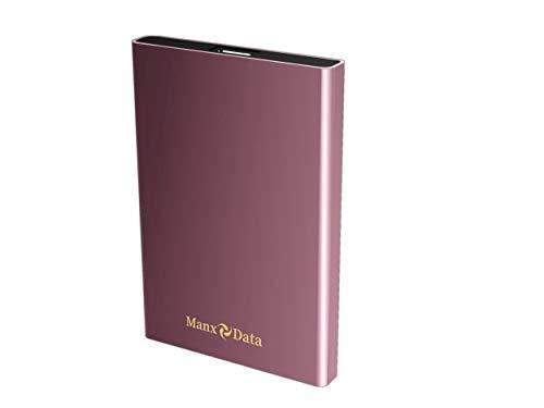 ManxData - Hard disk esterno portatile USB 3.0, 250 GB, per PC, Mac, Smart TV e PS4, colore: Rosa