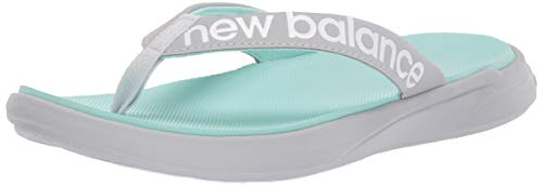 New Balance Women's 340 V1 Flip Flop, Light Aluminum/White/Light Reef, 9