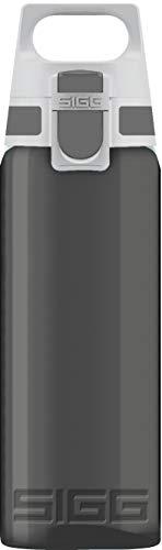 SIGG Total Color Anthracite Trinkflasche (0.6 L), schadstofffreie und auslaufsichere Trinkflasche, leichte und bruchfeste Trinkflasche aus Tritan