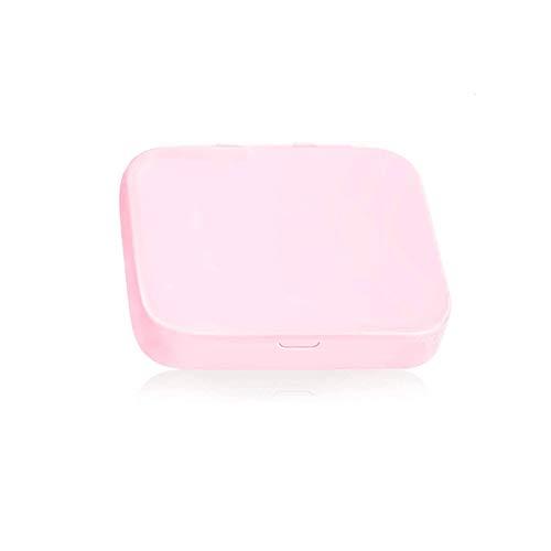 Kalolary 1 Box Wiederverwendbare Wattestäbchen, 4pcs WattestäBchen Tragbare doppelköpfige doppelseitige Ohrreiniger mit Etui und Kosmetikspiegeln, für Frauen Ohrenreinigung Make-up (Pink)