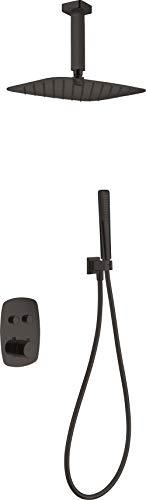 Conjunto ducha empotrada termostática Imex Feroe Negro GPF036-NG