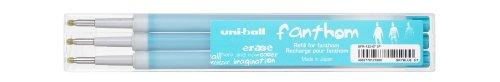 Uni-ball Fanthom UFR122/07 BT Set de 3 Recharges Roller 0,7 mm Encre Thermosensible Bleu Turquoise