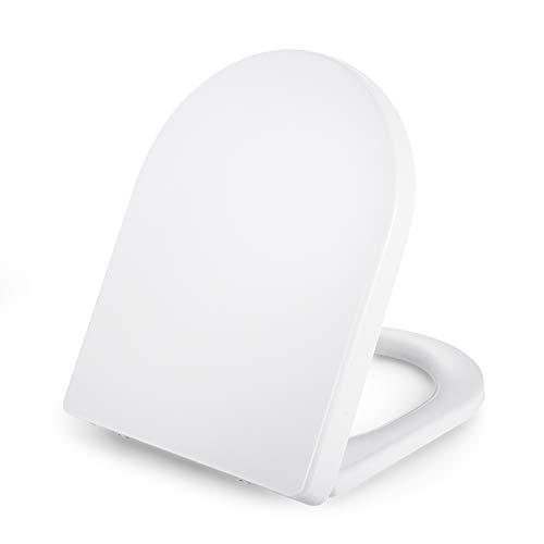 Dalmo Universal D-Form WC Sitz PP-Material, Toilettensitz mit Soft Close Absenkung und Quick Release-Funktion, Toilettendeckel mit Rostfreie Edelstahl, Einfache Montage, weiß