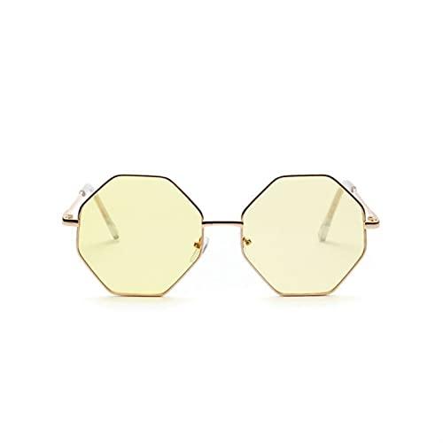 Sechseck Sonnenbrille Frauen Kleiner Rahmen Polygon Sonnenbrille Männer Blau Rosa Klare Linse Sonnenbrille Weiblich (Lenses Color : C5 Yellow)