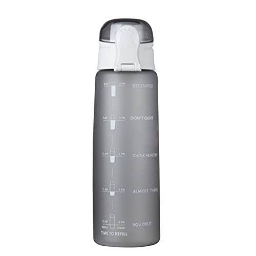 RHNE Botella de Agua de 900 ml Botella de Agua con Tapa de Rebote Ligera y Ambiental con Escala y Boquilla de succión Gris Mate 10 * 3'