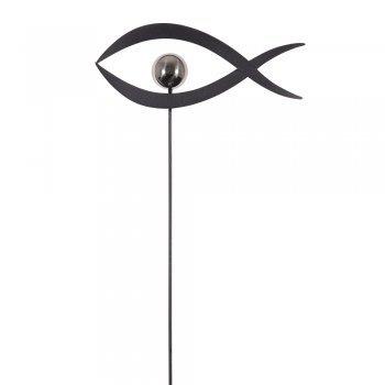 CIM Gartenstecker - Mirror 1K Schiefer Fisch S - Abmessung: 27 x 4,5 x 91cm - Edelstahlkugel hochglanzpoliert - Konfirmation - Moderne Haus und Gartendekoration