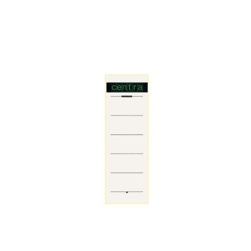 Centra Rückenschild selbstklebend für Standard-Ordner mit 75 mm Rückenbreite, 10 Stück, Kurzes und breites Format, 61 x 192 mm, weiß, 521114