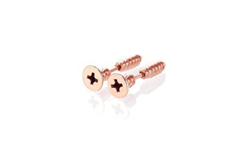 Pendientes de color oro rosa – Pendientes de metal para herramientas, tornillos, joyas de Petrolhead Rockabilly, taller tuning, coche, tornillo para madera