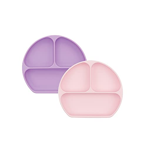 Bumkins Silicone Grip Dish, Suction Plate, Divided Plate, Baby Toddler Plate, BPA Free, Microwave Dishwasher Safe – 2pk Lavender/Pink