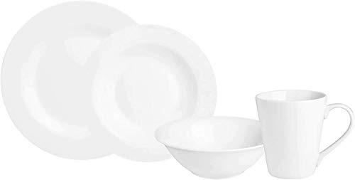 KARACA Serie Denisa Rund 16 TLG Weiß Porzellan Geschirrset Kombiservice Tafelservice mit 4 Suppenteller, 4 Speiseteller, 4 Servierteller, 4 Tasse