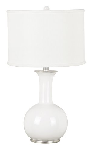 Kenroy Home Kenroy 21024WH Transitional One Light Table Lamp from Mimic Collection Finish, 14.00 inches, 60 Inch Height, 17 Inch Width, Gloss White