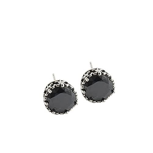 XIANNVQB S925 Pendientes, Niñas Simples Retro Negro Zircon Ear Studs En Forma De Flor Personalizada Aguja De Oído Joyería Regalo De Mujer, Negro, 9.2Mm