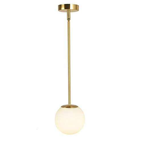 Globe Pendant, Matte White Glass with Brass Finish, One Light Contemporary Mid Century Modern Lighting Fixture (15cm/ 6inch Lampshade)