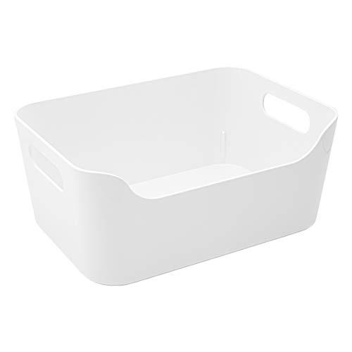 Ikea IKE-103.351.06 Aufbewahrungsbox Variera stapelbare Kiste in 24x17x10.5cm (BxTxH) mit Tragegriffen-Hochglanz weiß