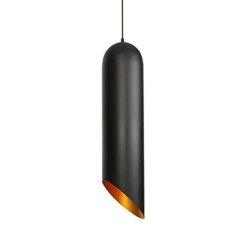 LIUDADA Lámpara de techo colgante de metal, moderna, casquillo E27, para salón, bar, comedor, 12 × 50 cm