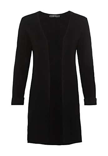 HALLHUBER Lange Strickjacke mit Dreiviertelärmeln gerade geschnitten schwarz, M
