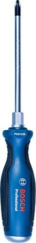 Bosch Professional 1600A01TG3 Destornillador de estrella, cromo vanadio, mango softgrip con cabezal de acero, Azul, PH2 x 125mm